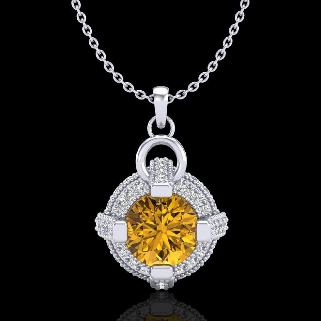1.57 CTW Intense Fancy Yellow Diamond Micro Pave Stud