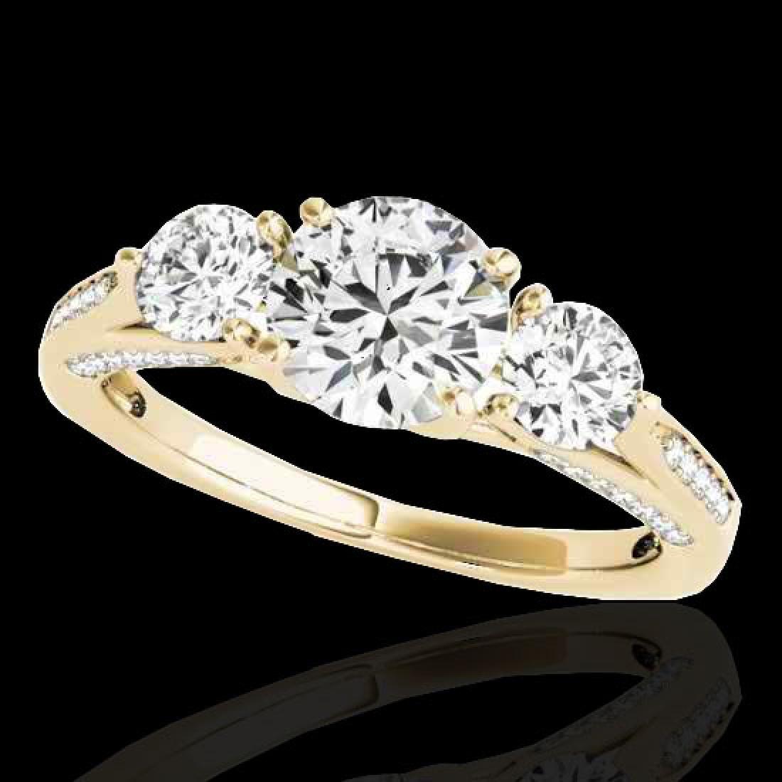 1.75 CTW H-SI/I Certified Diamond 3 Stone Ring 10K
