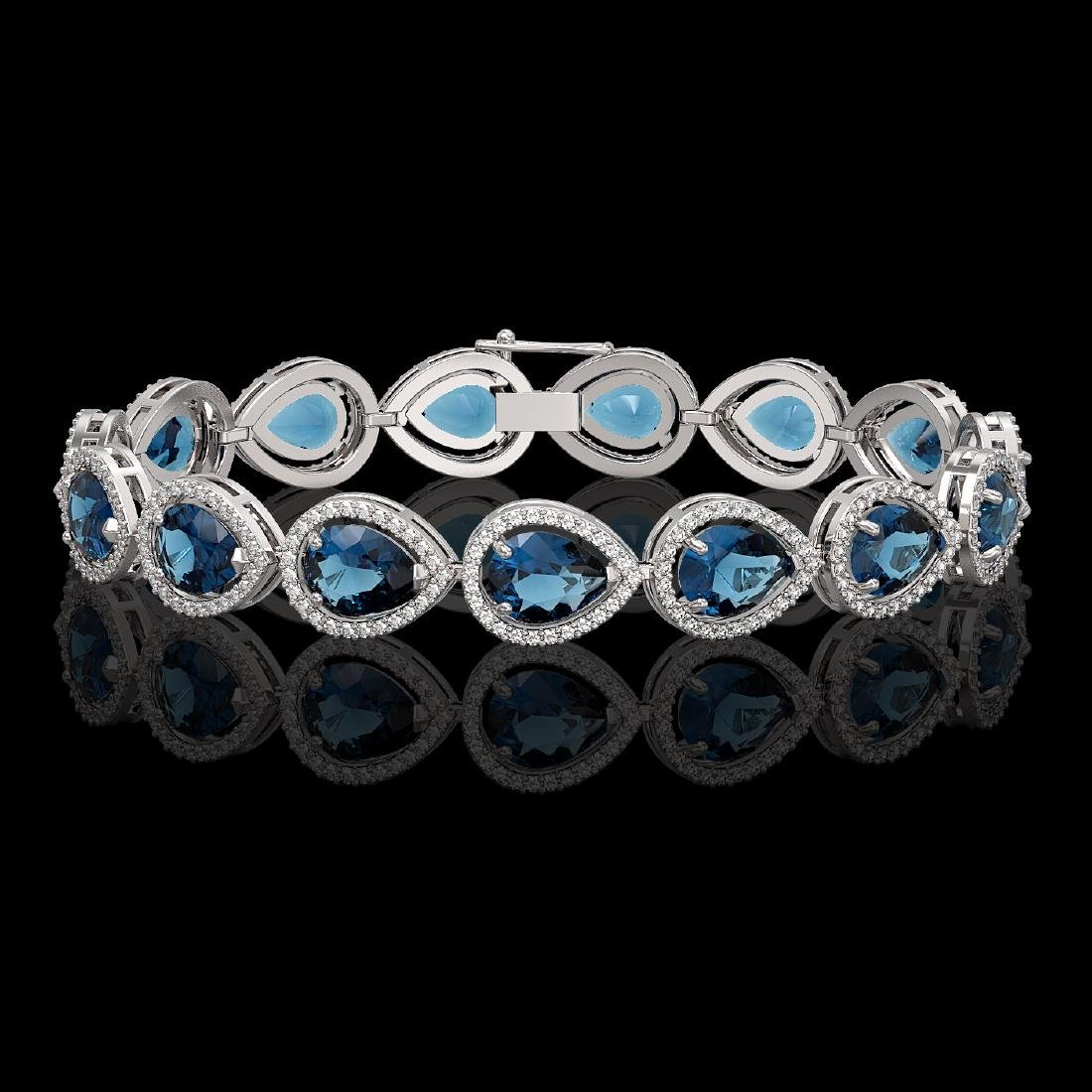 21.06 CTW London Topaz & Diamond Halo Bracelet 10K