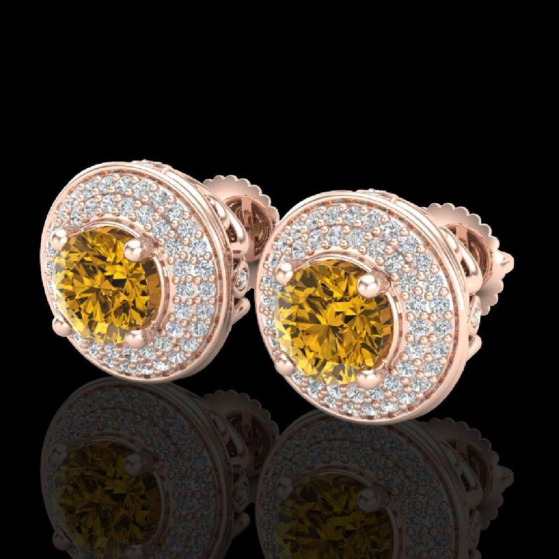 2.35 CTW Intense Fancy Yellow Diamond Art Deco Stud