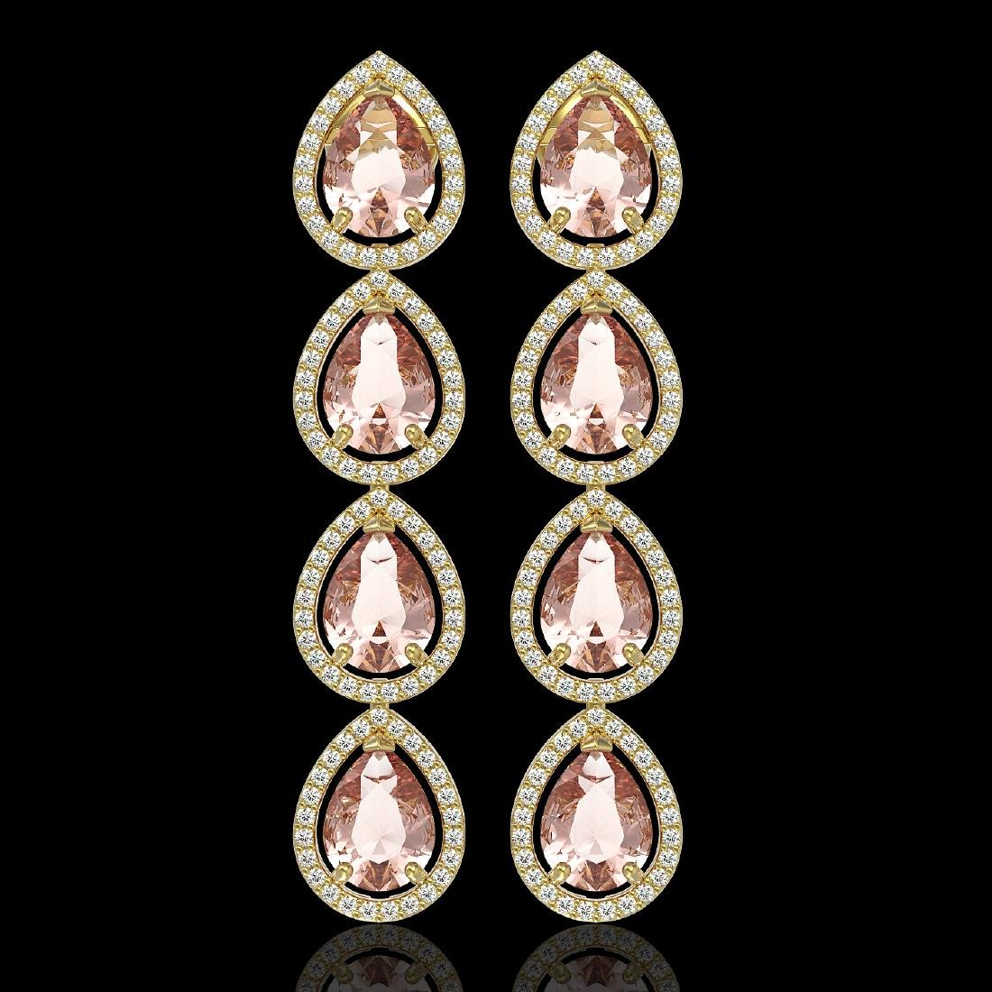 10.4 CTW Morganite & Diamond Halo Earrings 10K Yellow
