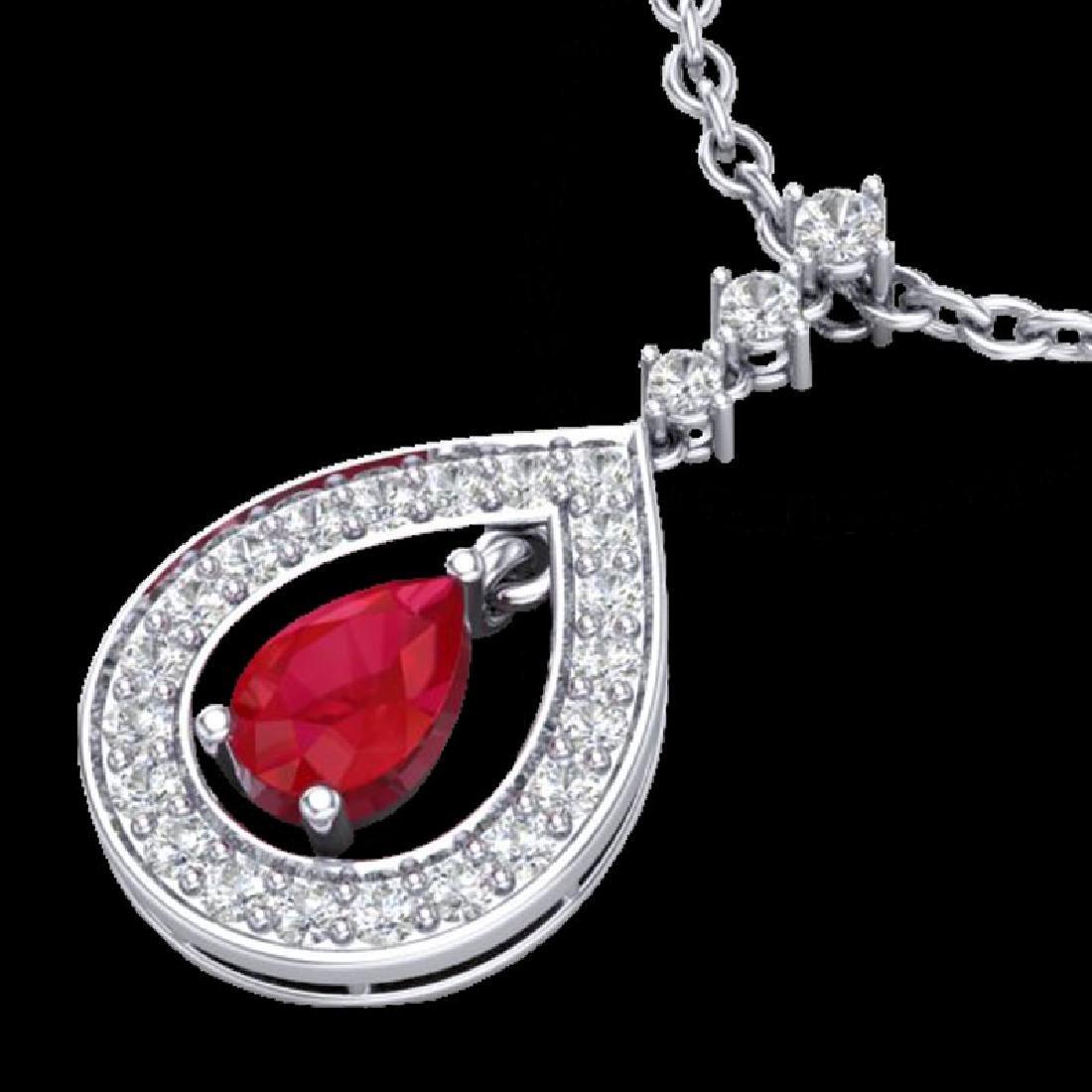 1.15 CTW Ruby & Micro Pave VS/SI Diamond Necklace