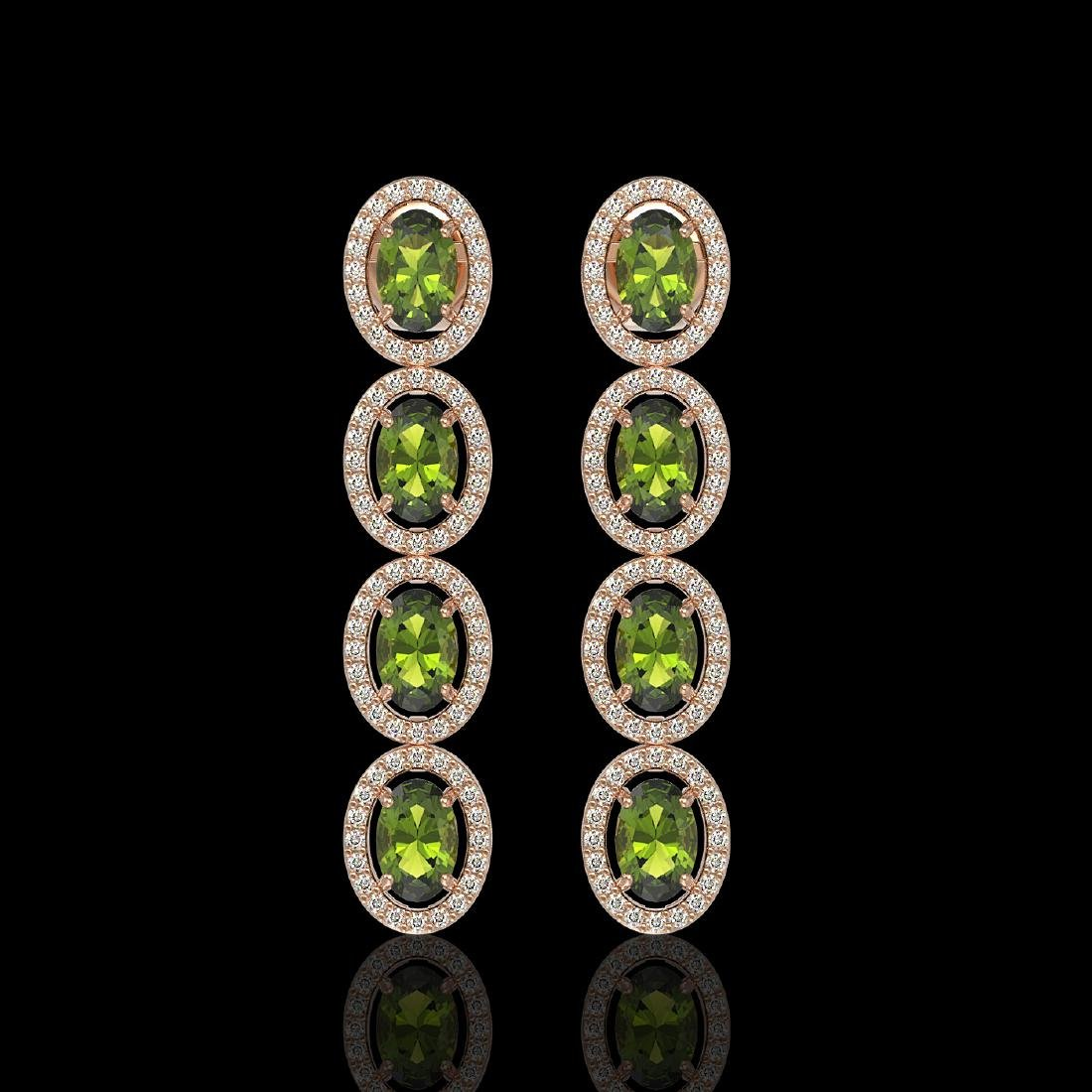 5.88 CTW Tourmaline & Diamond Halo Earrings 10K Rose