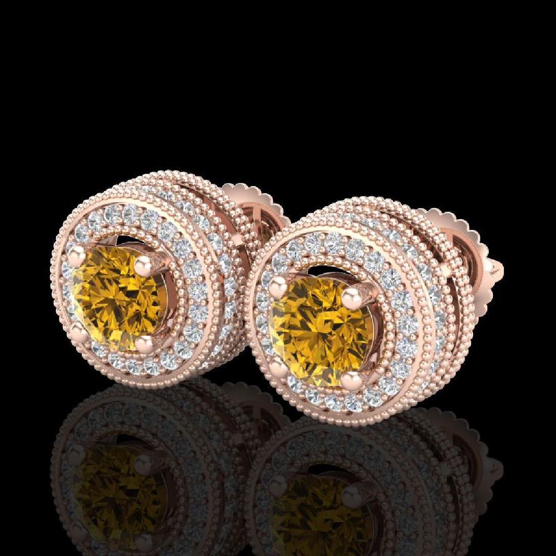 2.09 CTW Intense Fancy Yellow Diamond Art Deco Stud