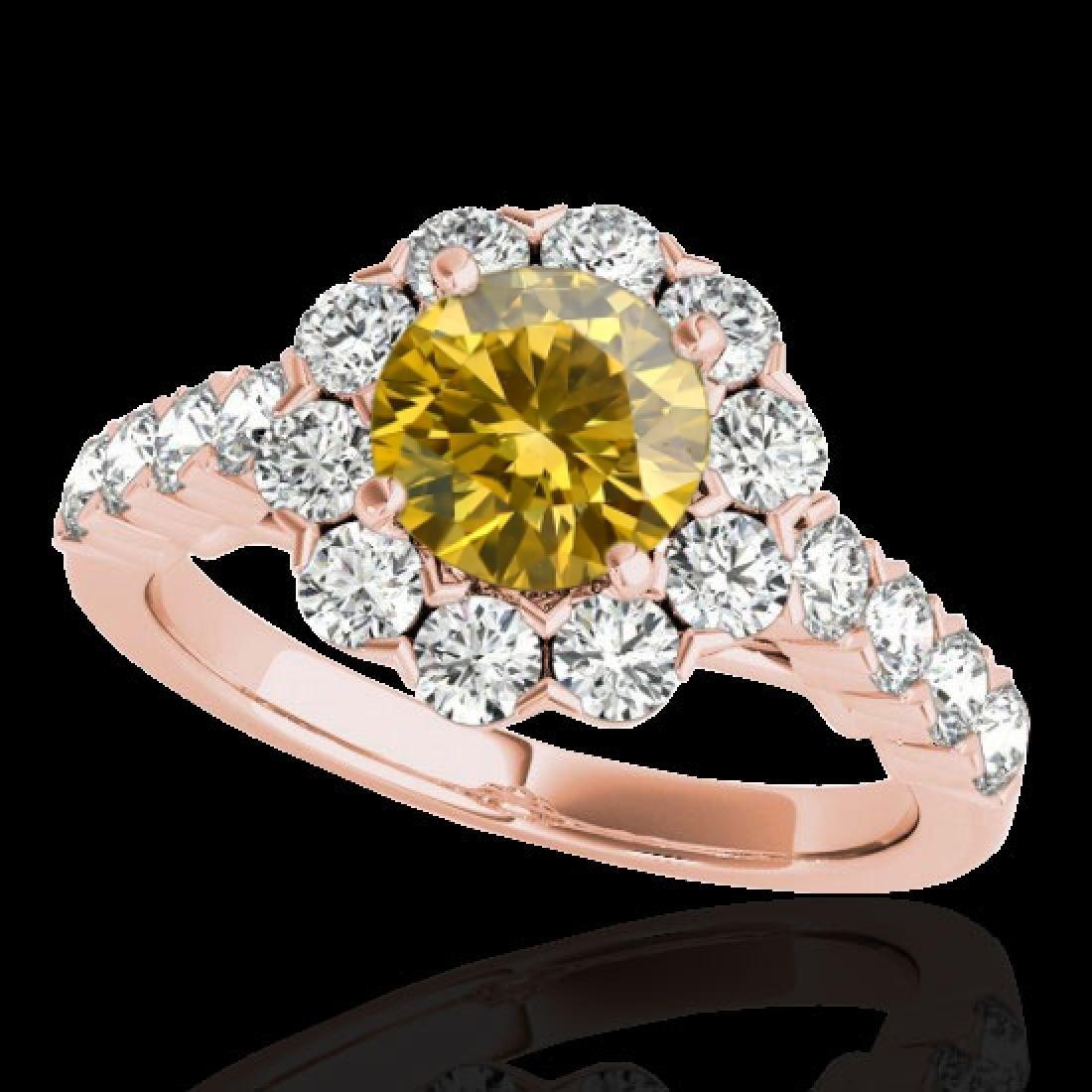 3 CTW Certified SI/I Fancy Intense Yellow Diamond