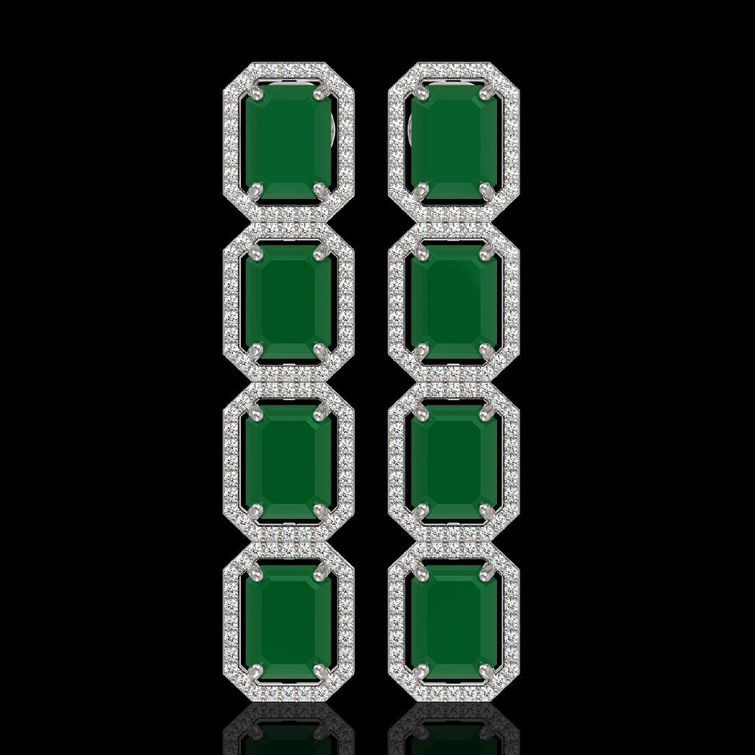 20.59 CTW Emerald & Diamond Halo Earrings 10K White