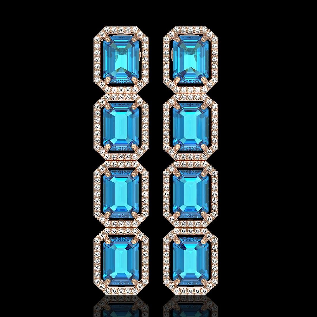 18.99 CTW Swiss Topaz & Diamond Halo Earrings 10K Rose