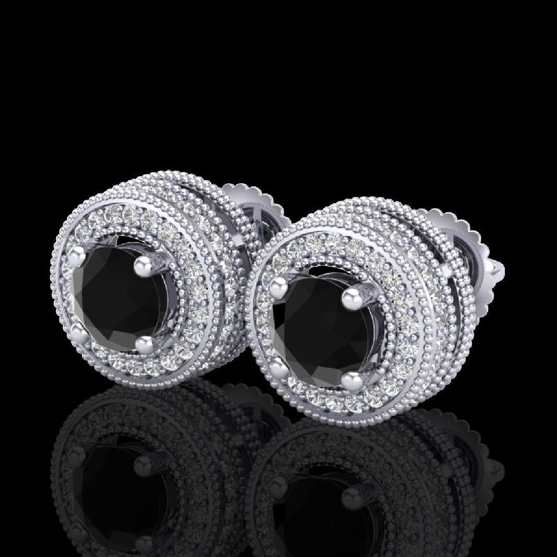 2.09 CTW Fancy Black Diamond Solitaire Art Deco Stud