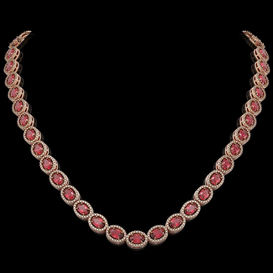 31.1 CTW Tourmaline & Diamond Halo Necklace 10K Rose
