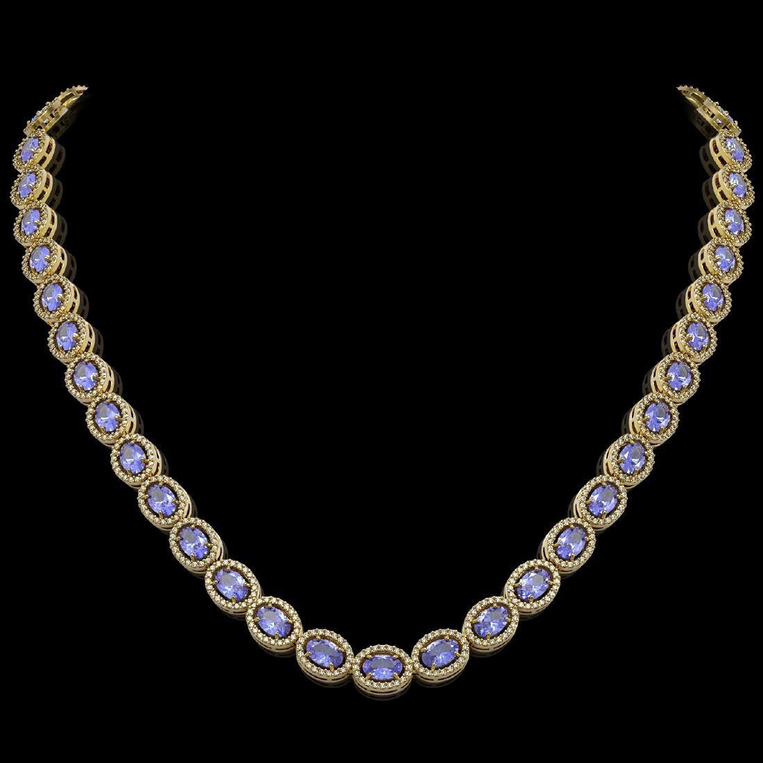 31.96 CTW Tanzanite & Diamond Halo Necklace 10K Yellow