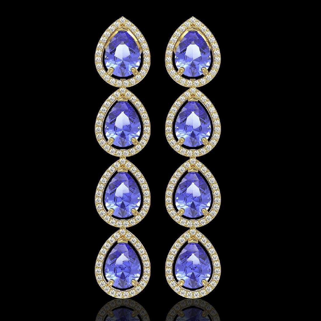 11.2 CTW Tanzanite & Diamond Halo Earrings 10K Yellow