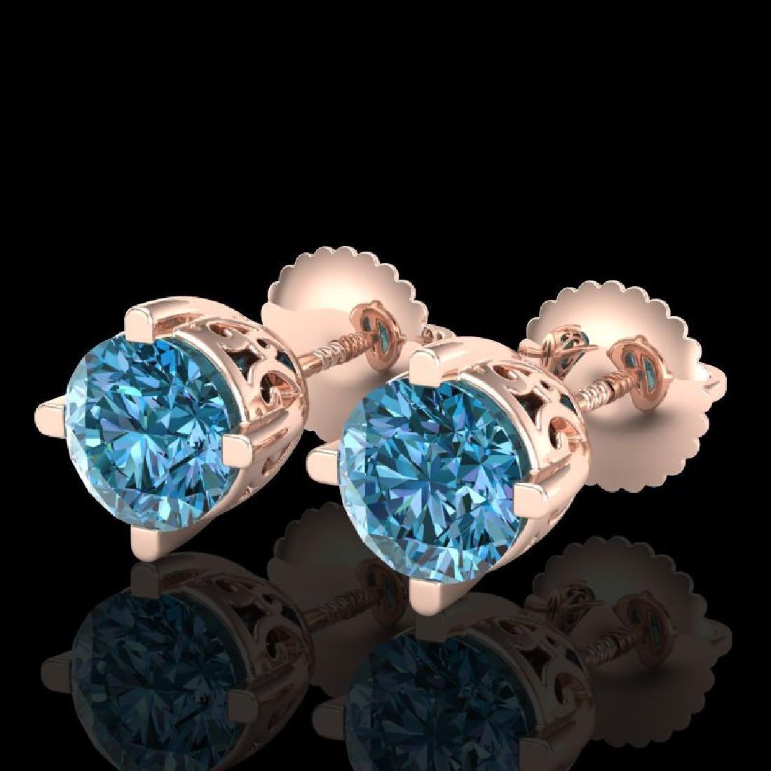 1.5 CTW Fancy Intense Blue Diamond Art Deco Stud