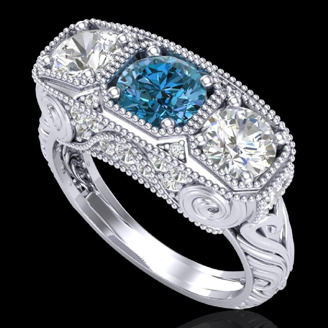 2.51 CTW Intense Blue Diamond Solitaire Art Deco 3