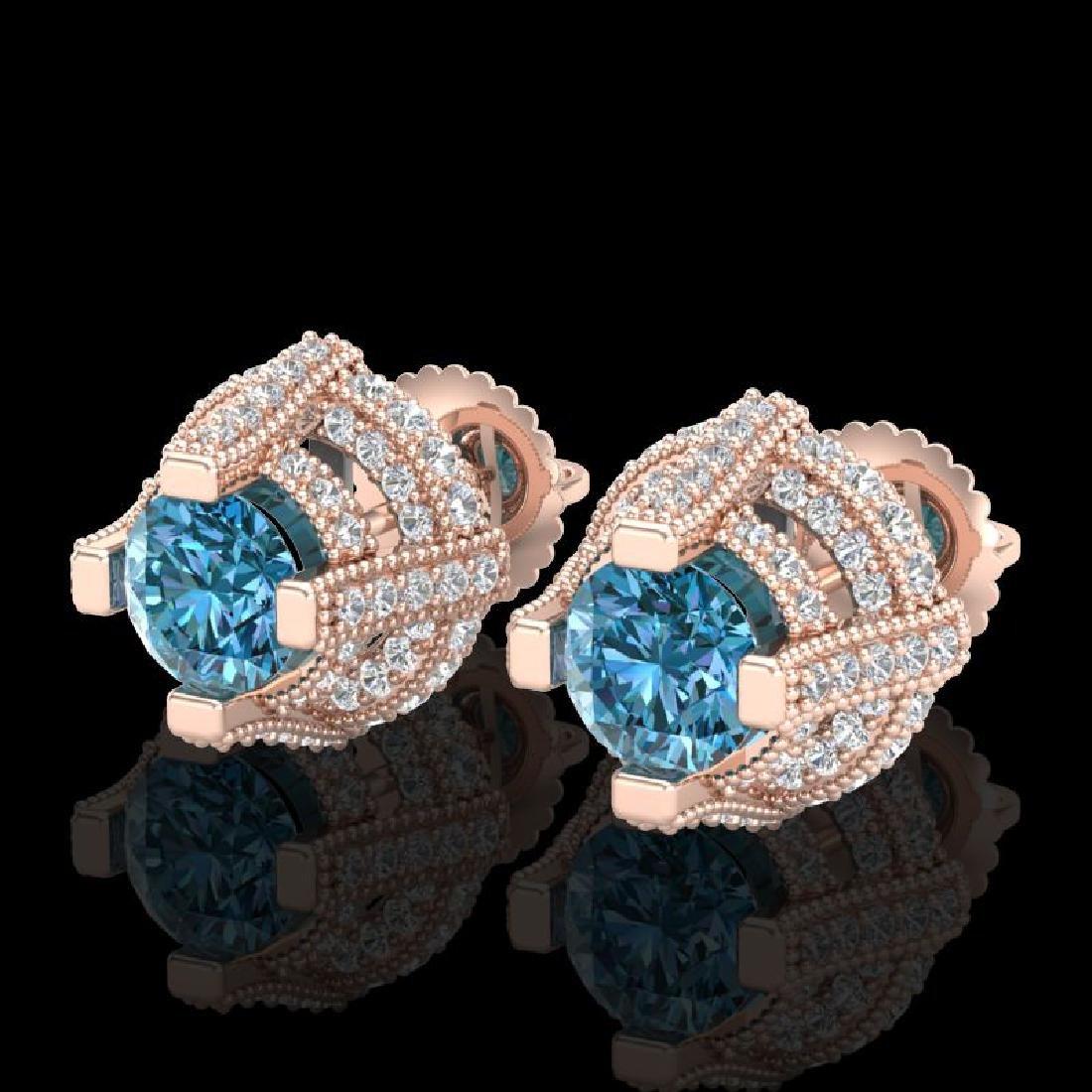 2.75 CTW Fancy Intense Blue Diamond Micro Pave Stud