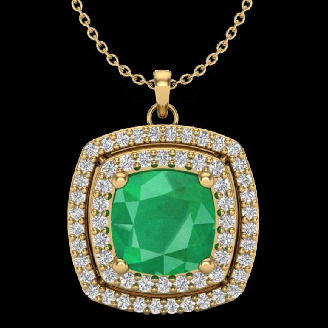 2.52 CTW Emerald & Micro Pave VS/SI Diamond Halo