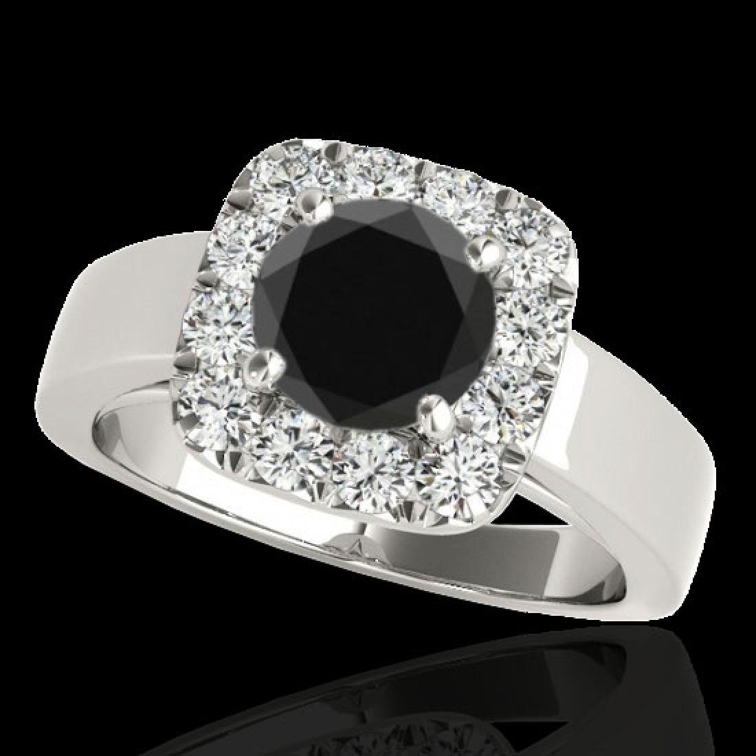 1.55 CTW Certified VS Black Diamond Solitaire Halo Ring