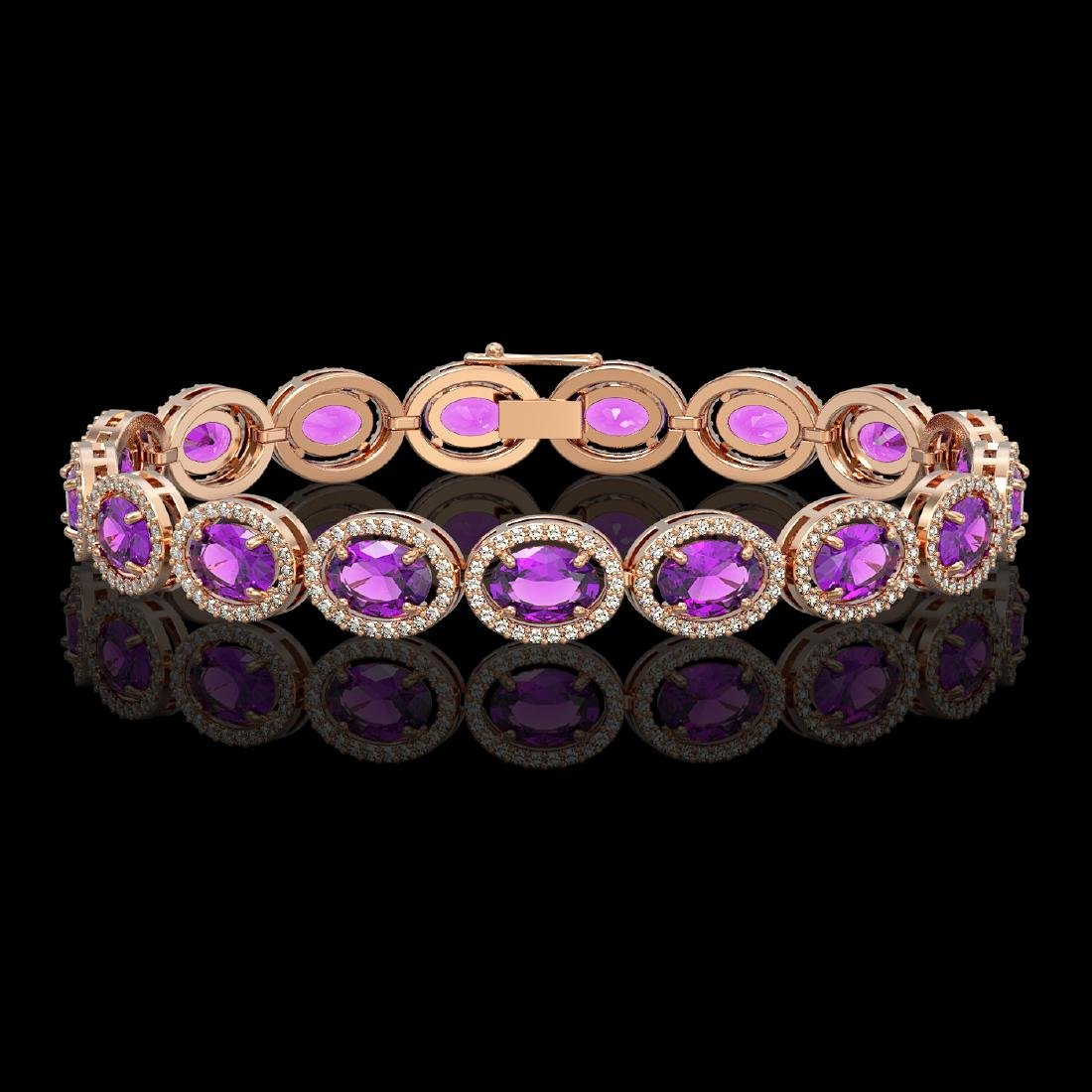 19.82 CTW Amethyst & Diamond Halo Bracelet 10K Rose