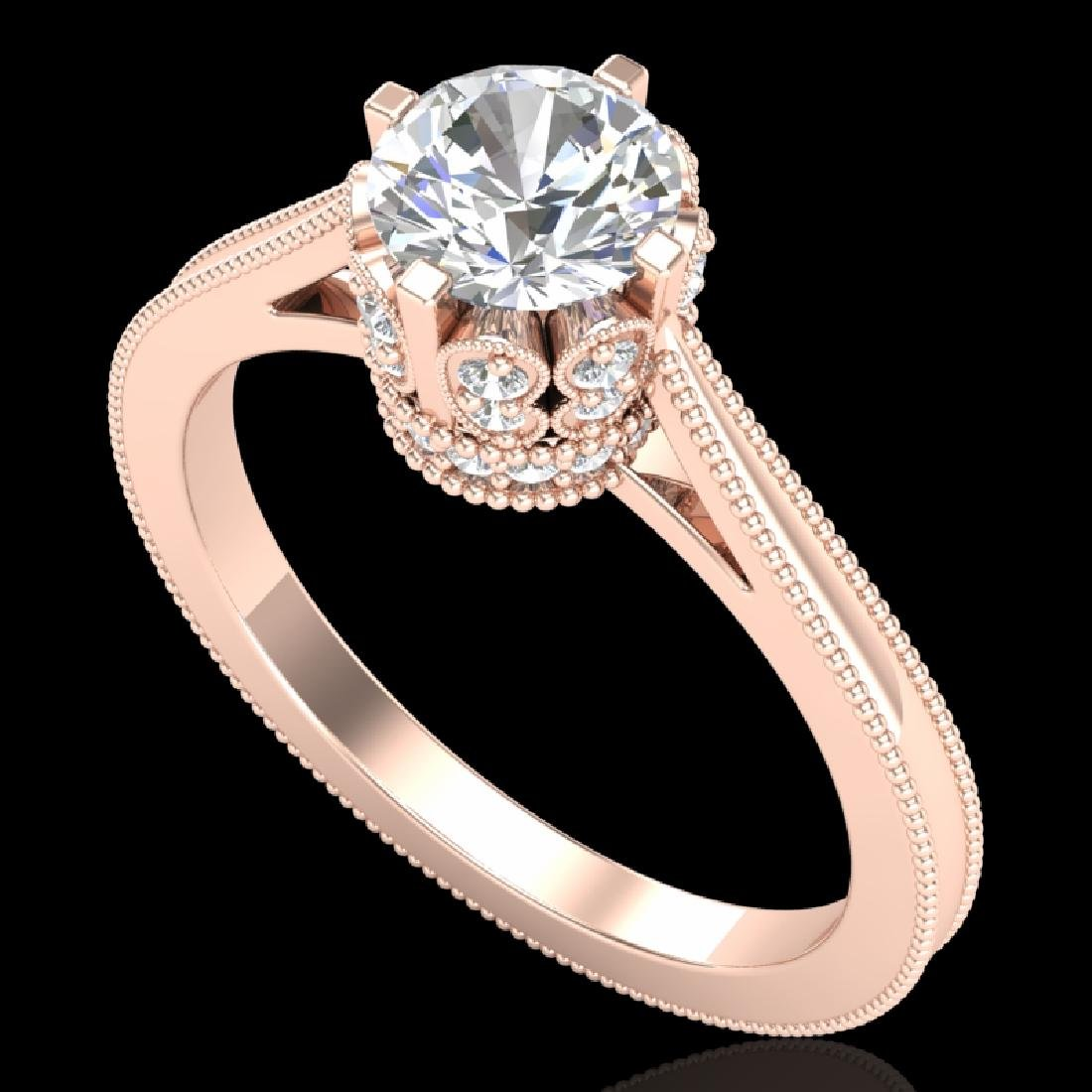 1.14 CTW VS/SI Diamond Solitaire Art Deco Ring 18K Rose