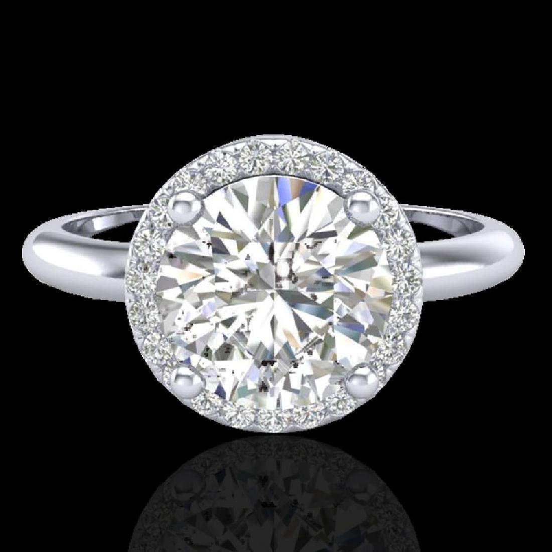 2 CTW Micro Pave VS/SI Diamond Ring Designer Halo 18K