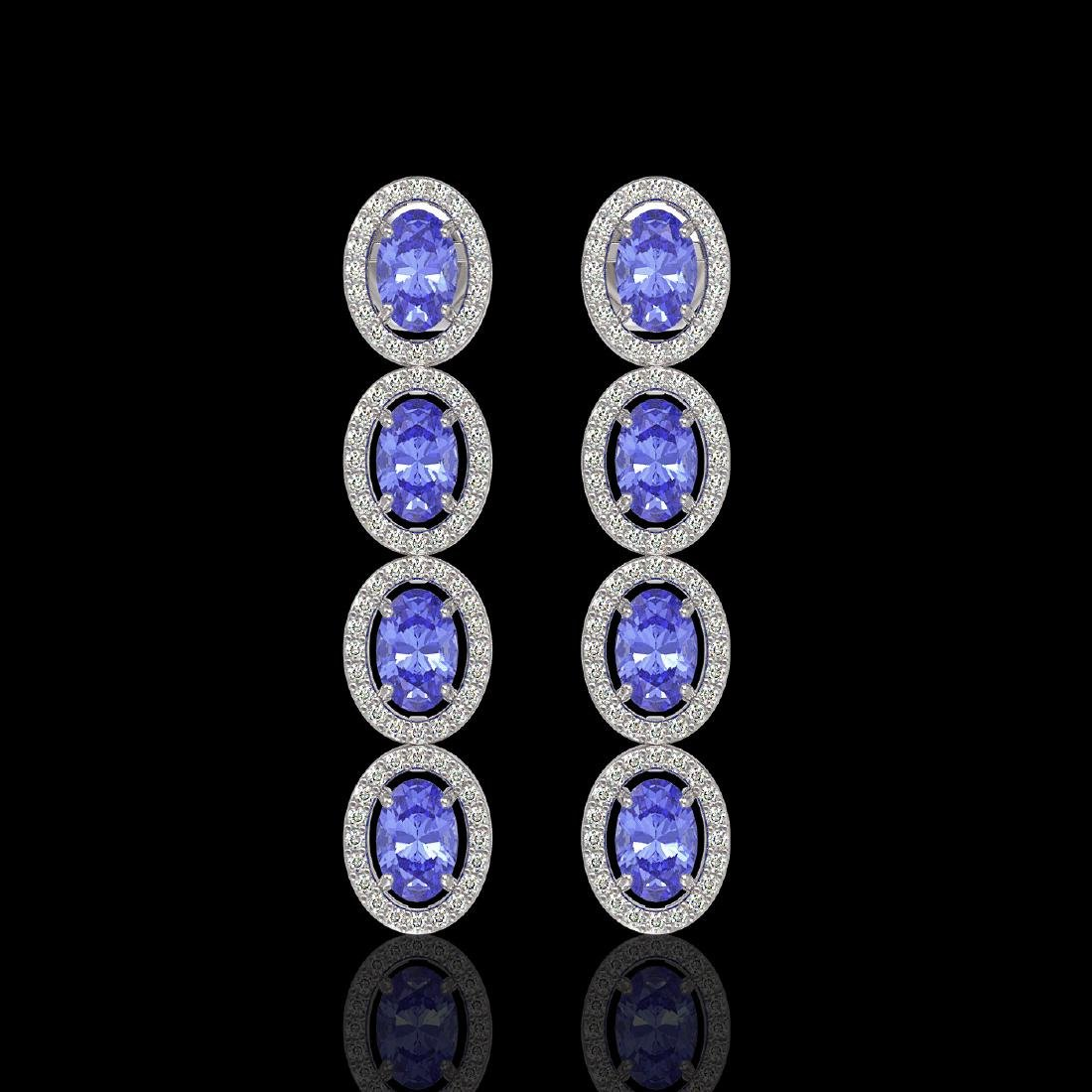 6.09 CTW Tanzanite & Diamond Halo Earrings 10K White
