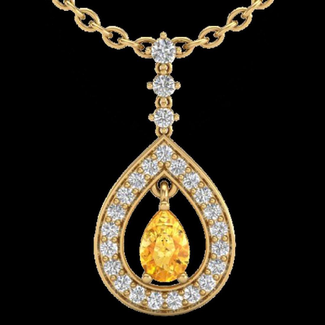 1.15 CTW Citrine & Micro Pave VS/SI Diamond Necklace - 2