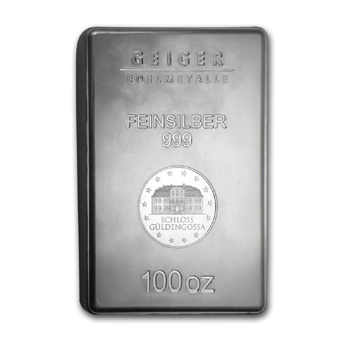 One piece 100 oz 0.999 Fine Silver Bar Geiger Security