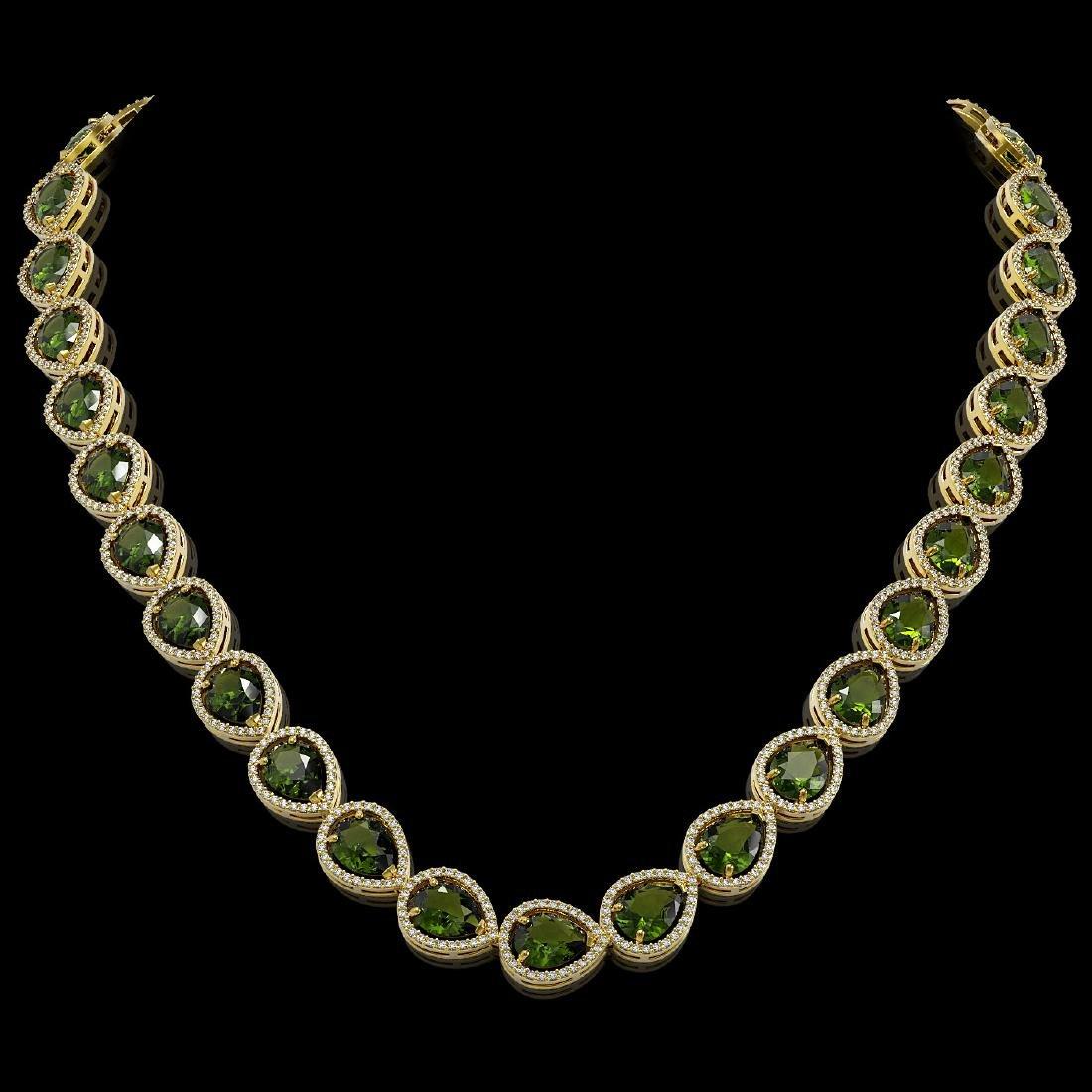 41.6 CTW Tourmaline & Diamond Halo Necklace 10K Yellow