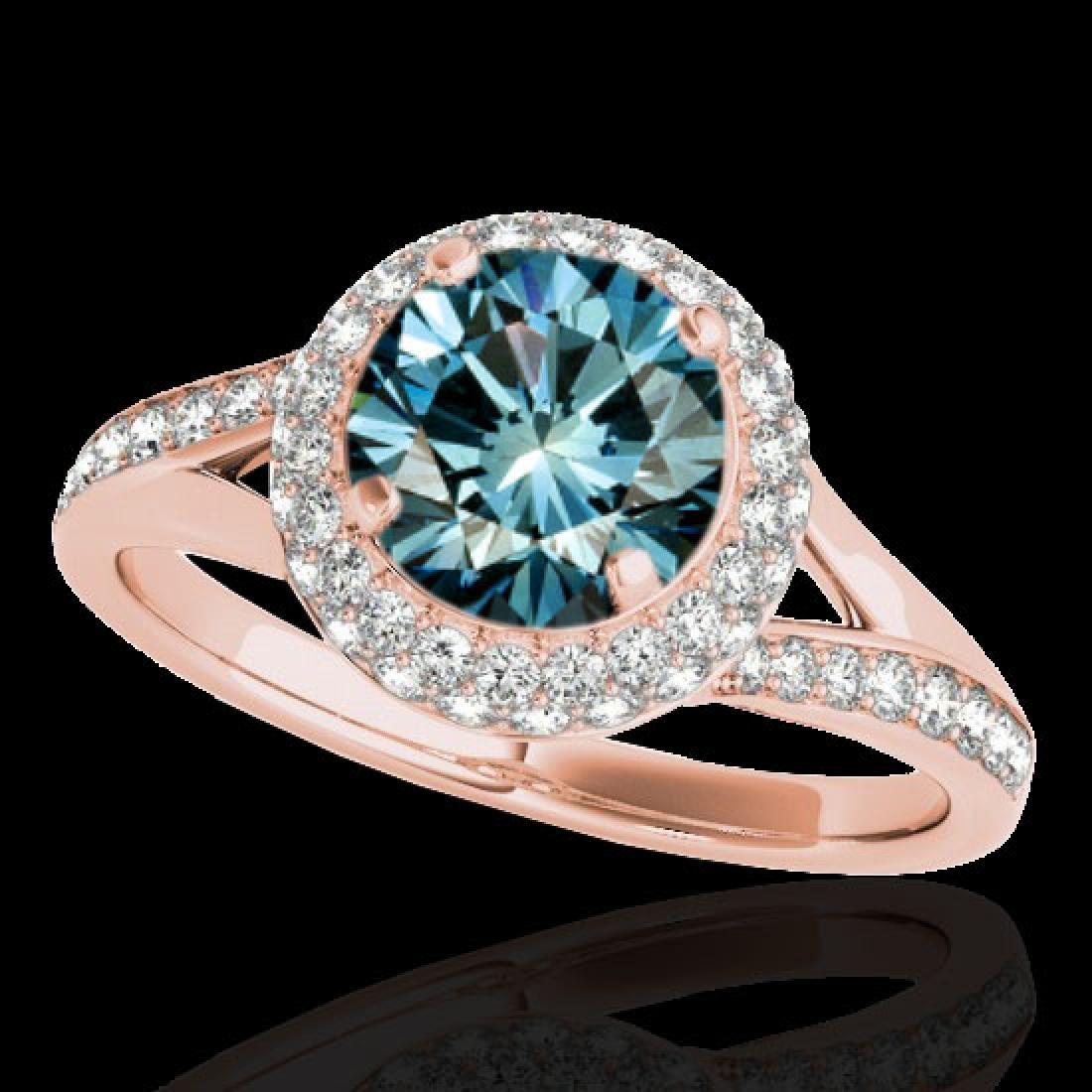 1.6 CTW SI Certified Fancy Blue Diamond Solitaire Halo