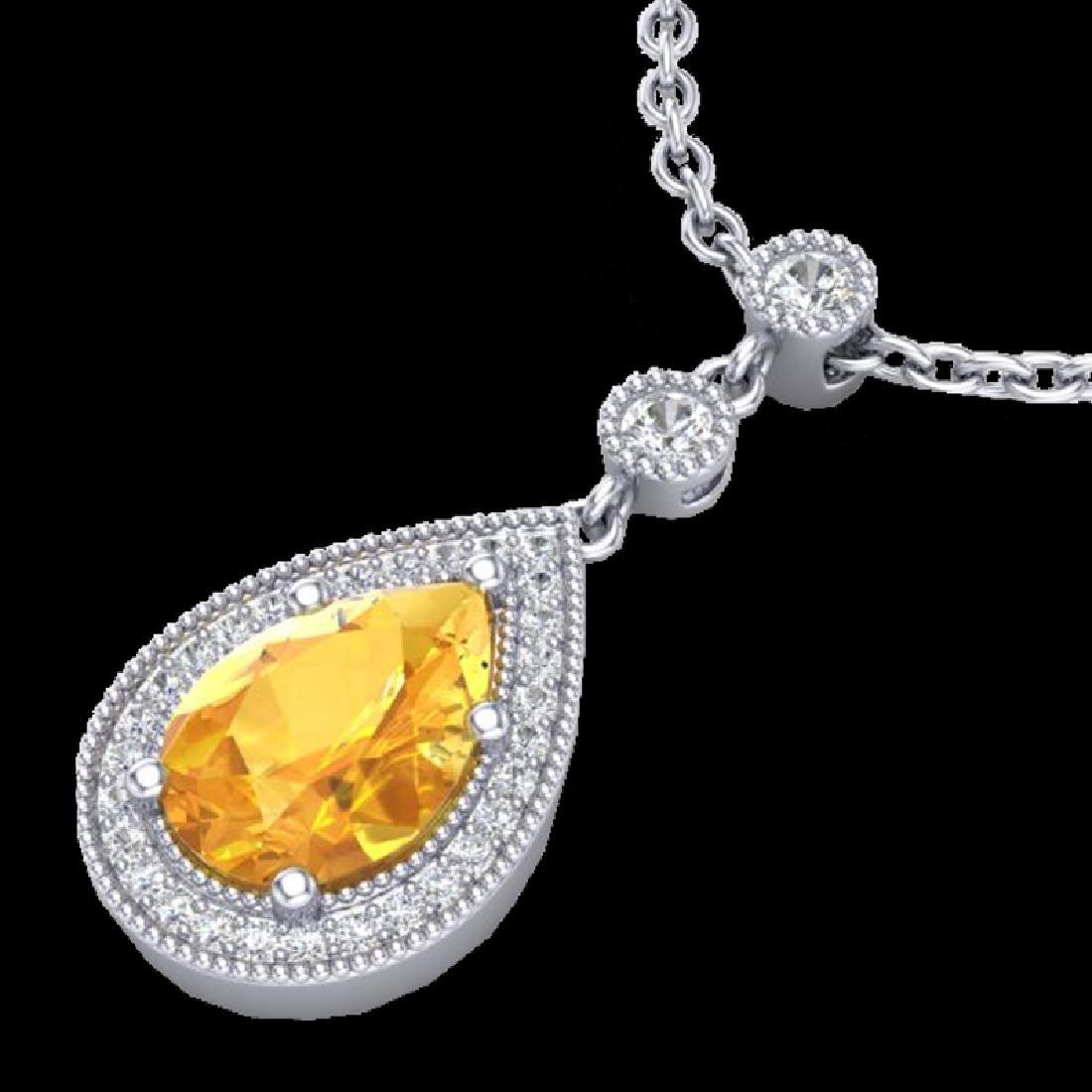 2.25 CTW Citrine & Micro Pave VS/SI Diamond Necklace