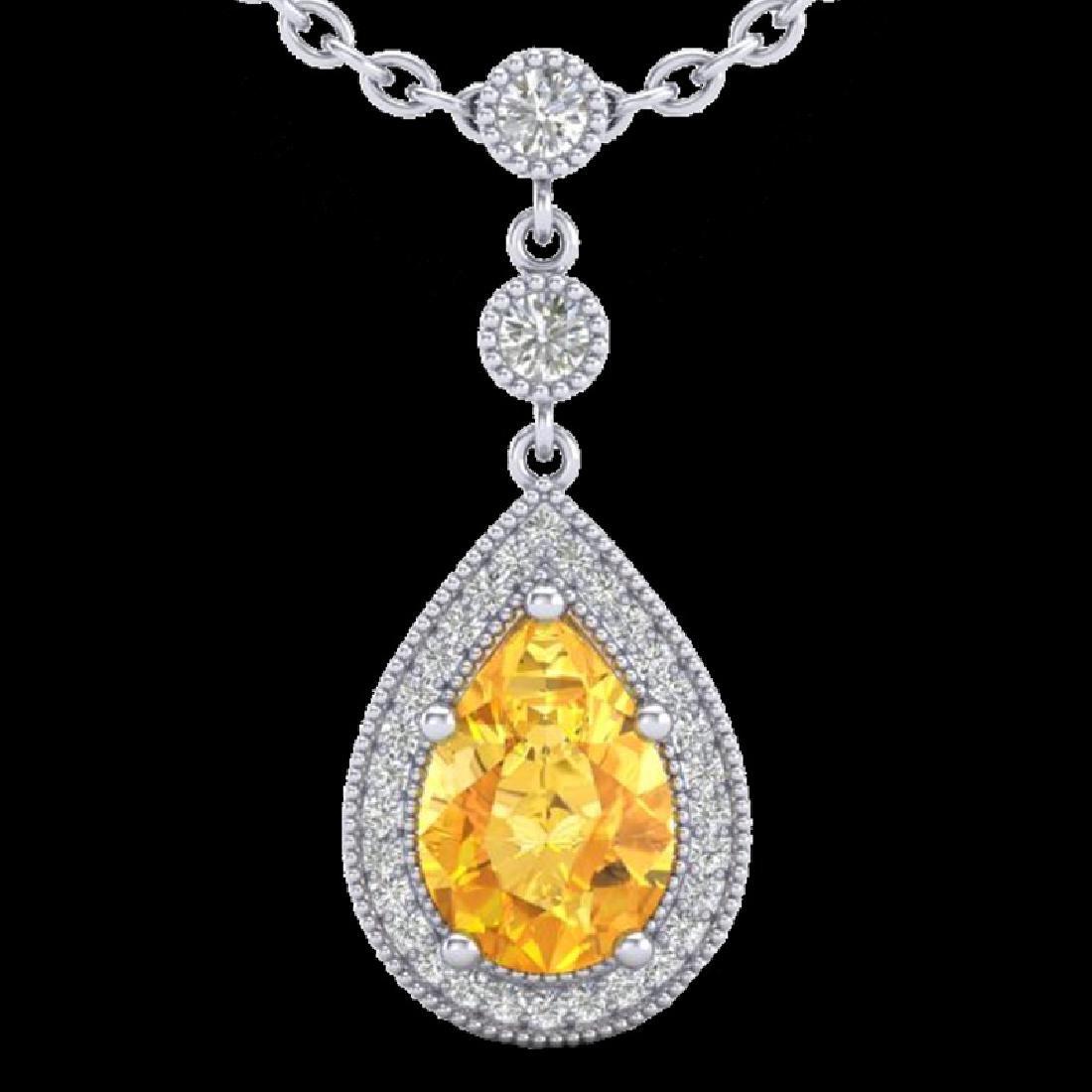 2.25 CTW Citrine & Micro Pave VS/SI Diamond Necklace - 2