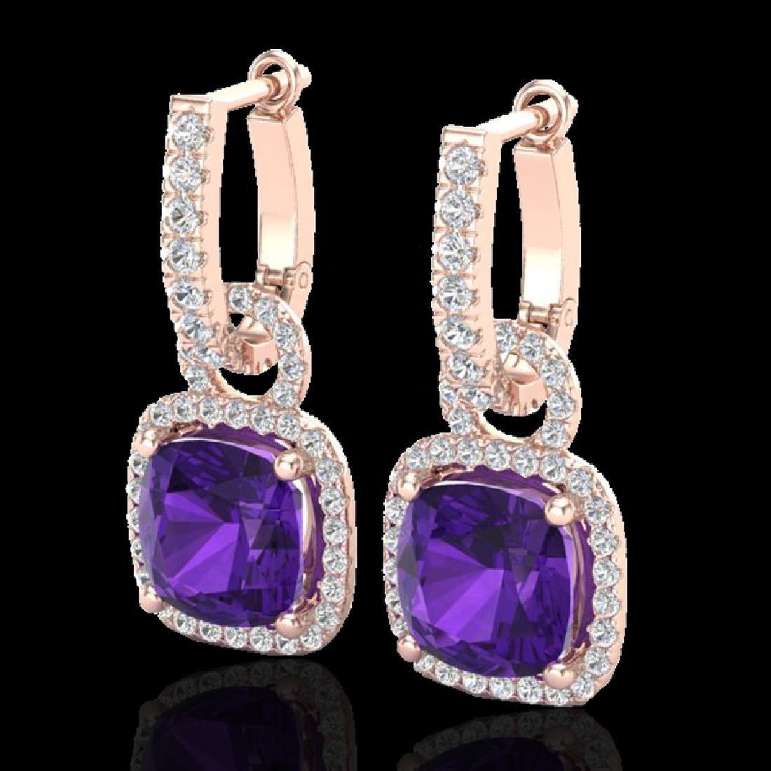 7 CTW Amethyst & Micro Pave VS/SI Diamond Earrings 14K