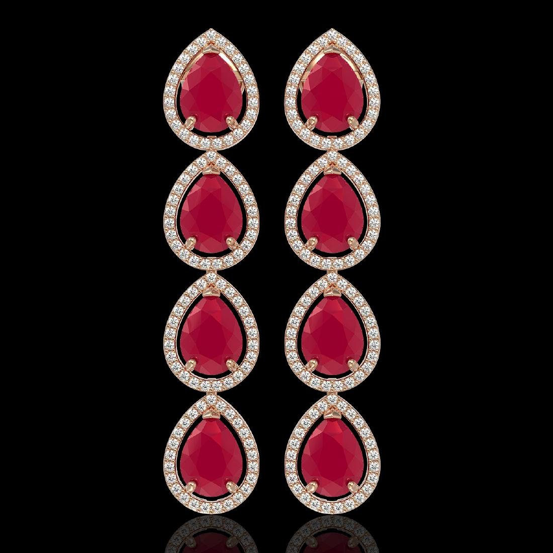 16.01 CTW Ruby & Diamond Halo Earrings 10K Rose Gold