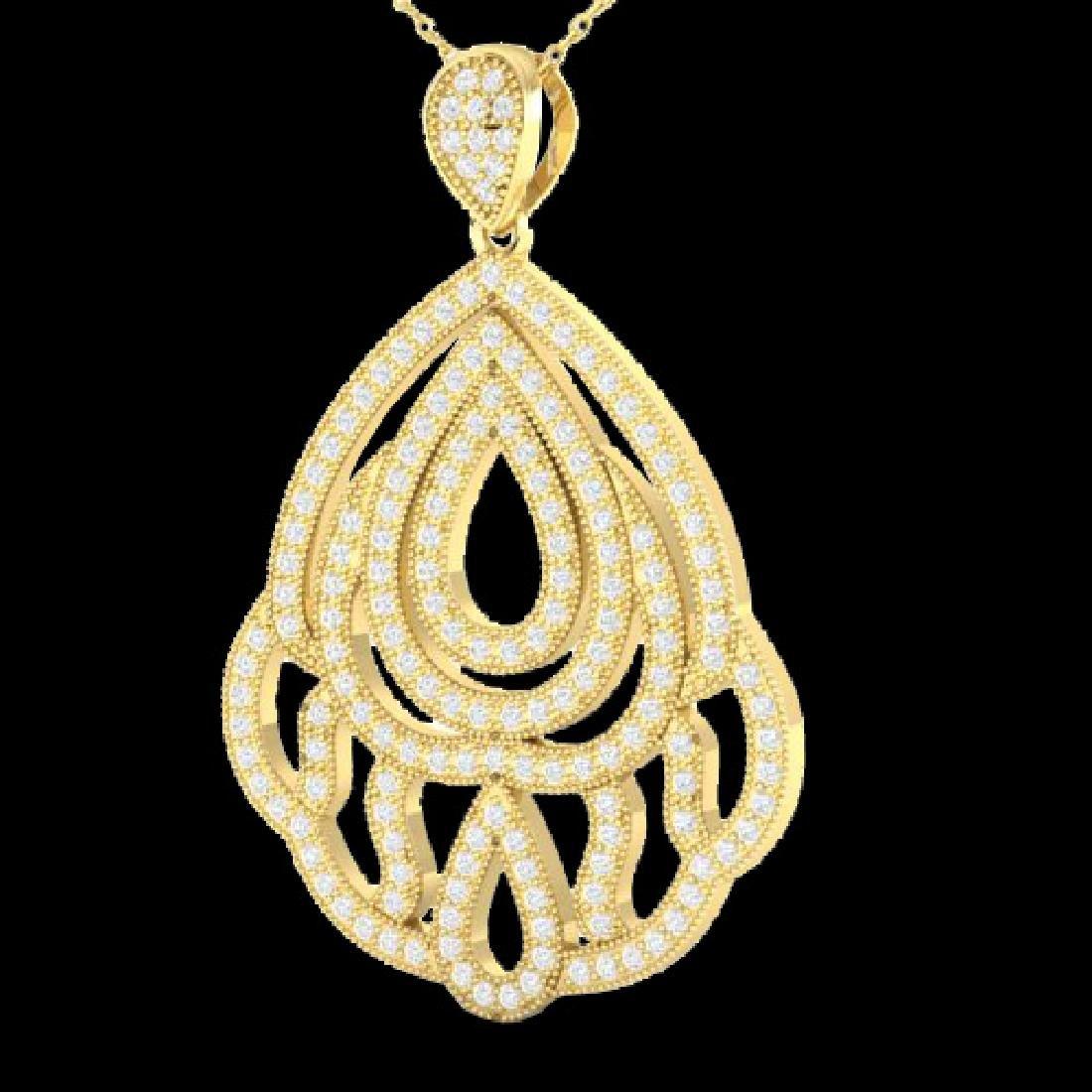1.50 CTW Micro Pave VS/SI Diamond Necklace Designer 18K