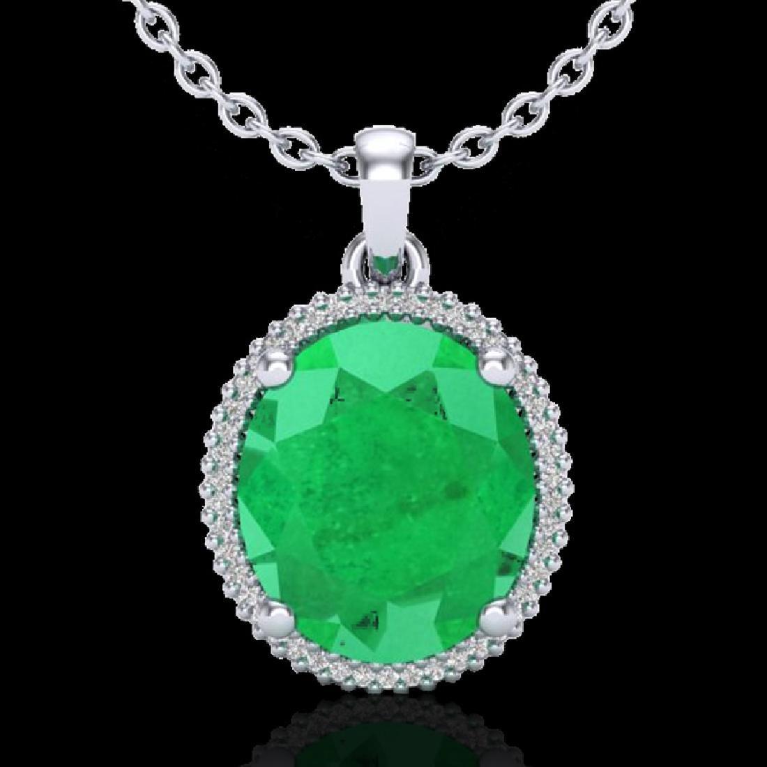 12 CTW Emerald & Micro Pave VS/SI Diamond Halo Necklace