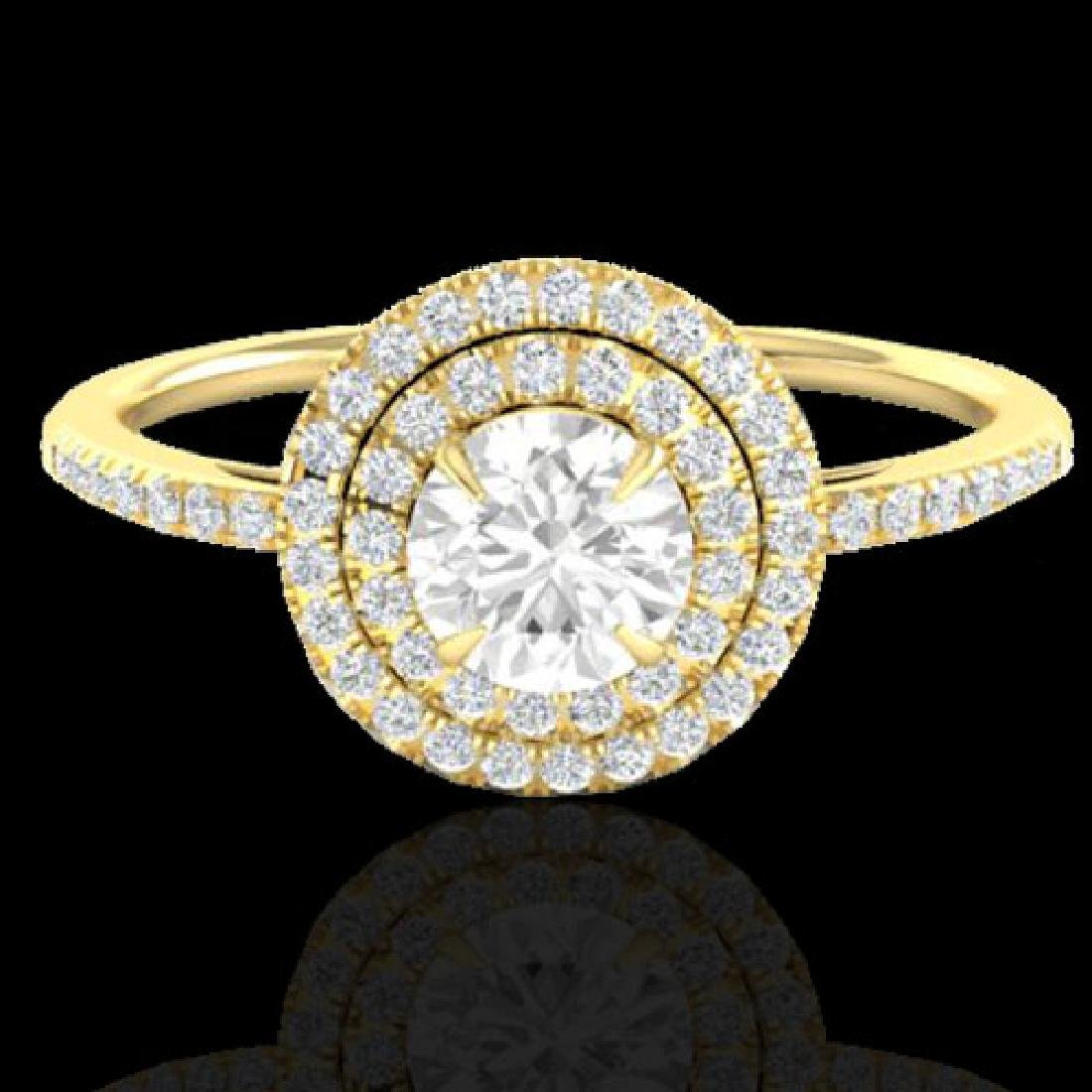 1 CTW Micro Pave VS/SI Diamond Solitaire Ring Double