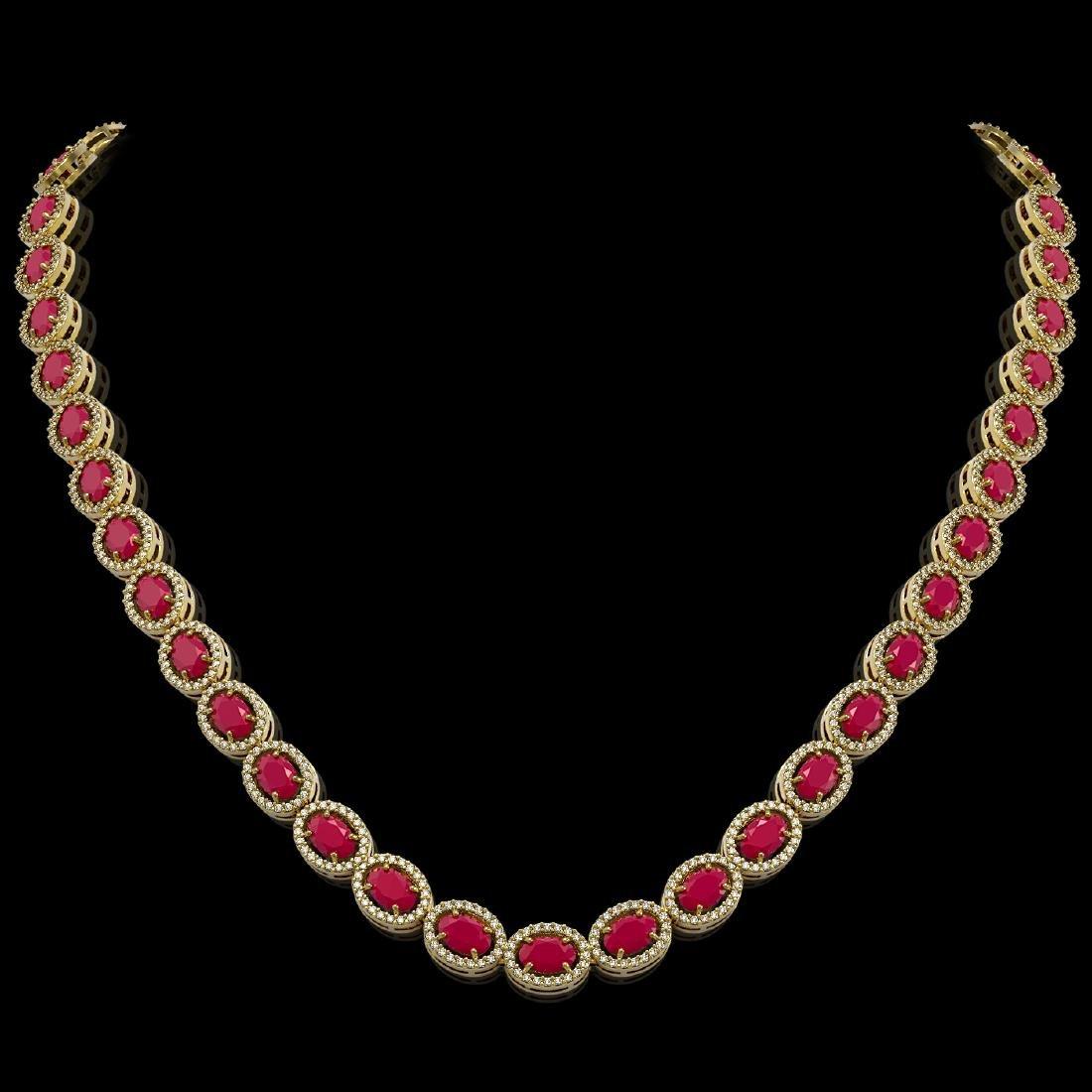 34.11 CTW Ruby & Diamond Halo Necklace 10K Yellow Gold