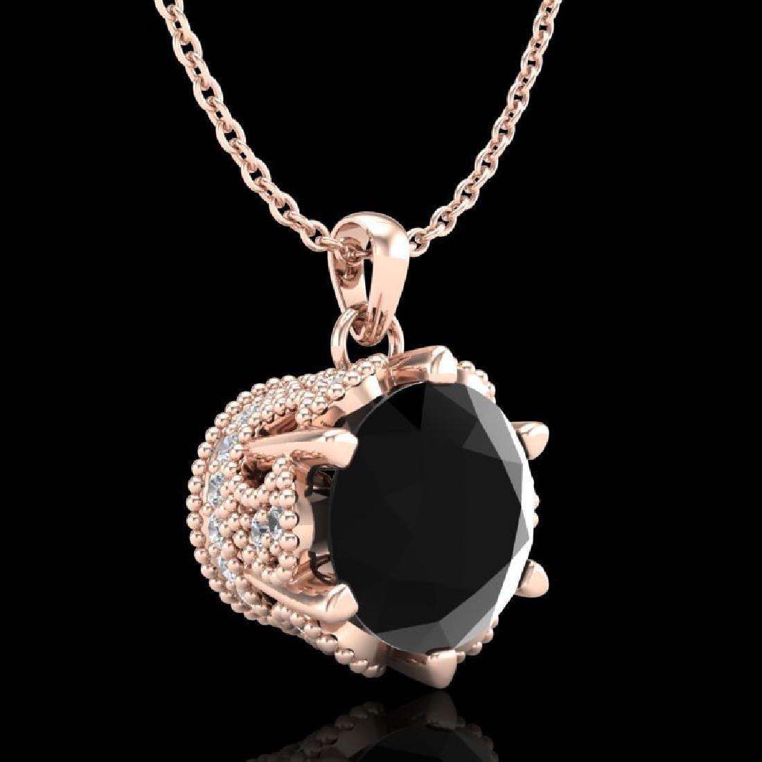 1.36 CTW Fancy Black Diamond Solitaire Art Deco Stud - 3