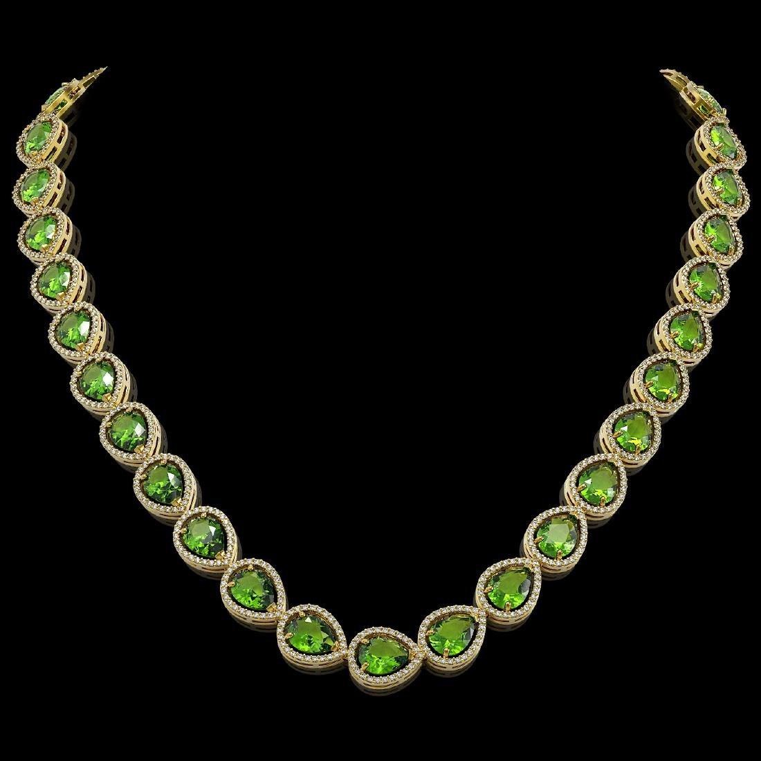 33.6 CTW Peridot & Diamond Halo Necklace 10K Yellow