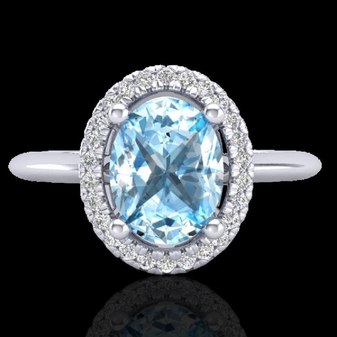 2 CTW Sky Blue Topaz & Micro VS/SI Diamond Ring