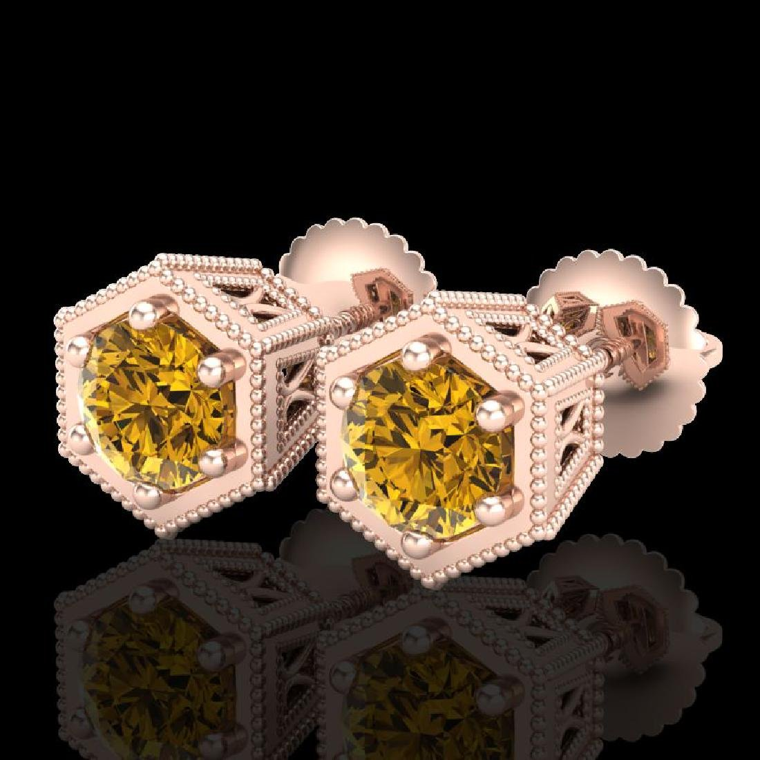 1.15 CTW Intense Fancy Yellow Diamond Art Deco Stud