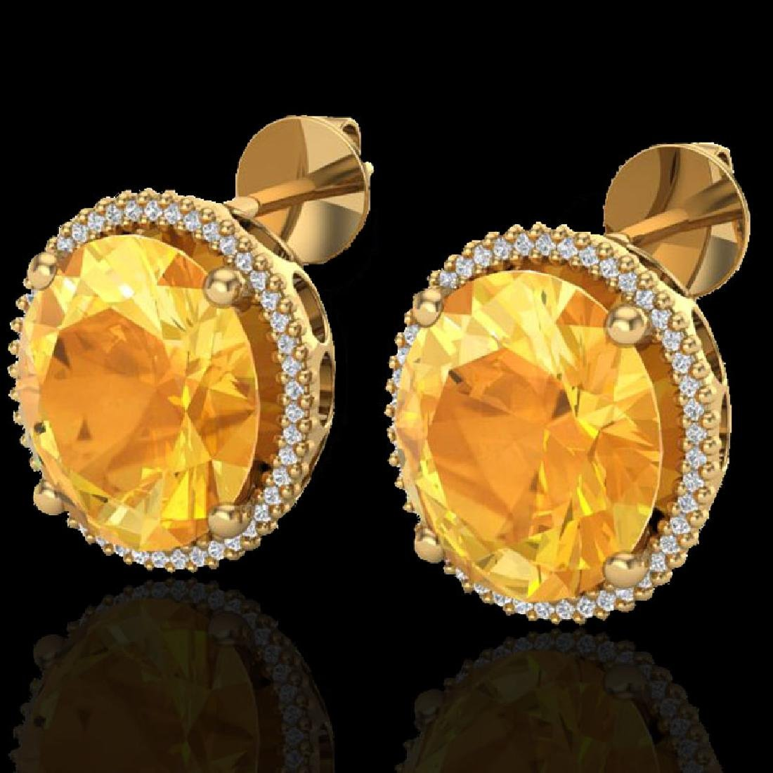 20 CTW Citrine & Micro Pave VS/SI Diamond Halo Earrings