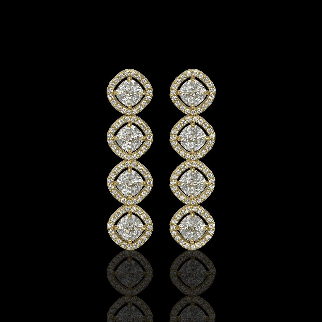 5.28 CTW Cushion Cut Diamond Designer Earrings 18K