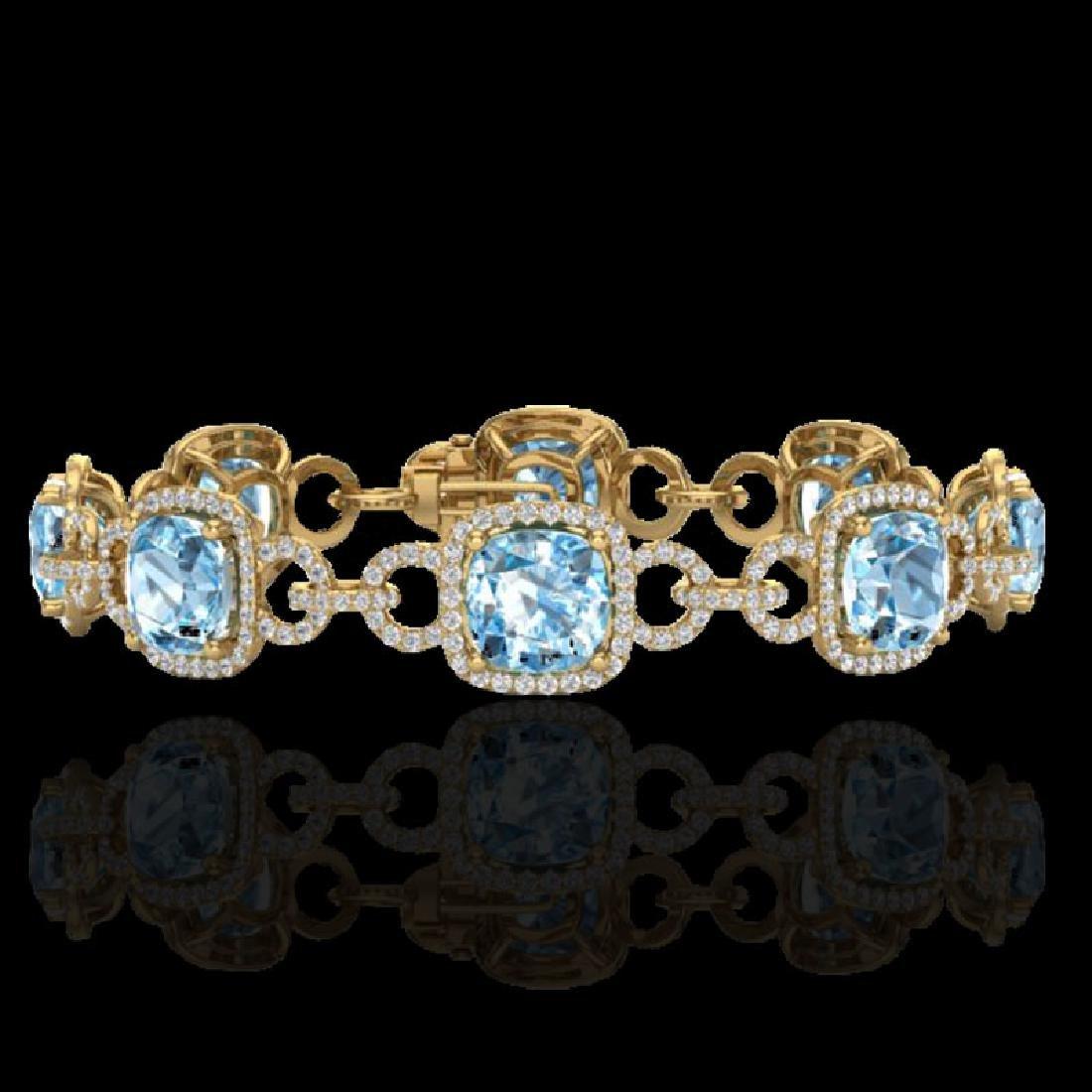 30 CTW Topaz & Micro VS/SI Diamond Bracelet 14K Yellow