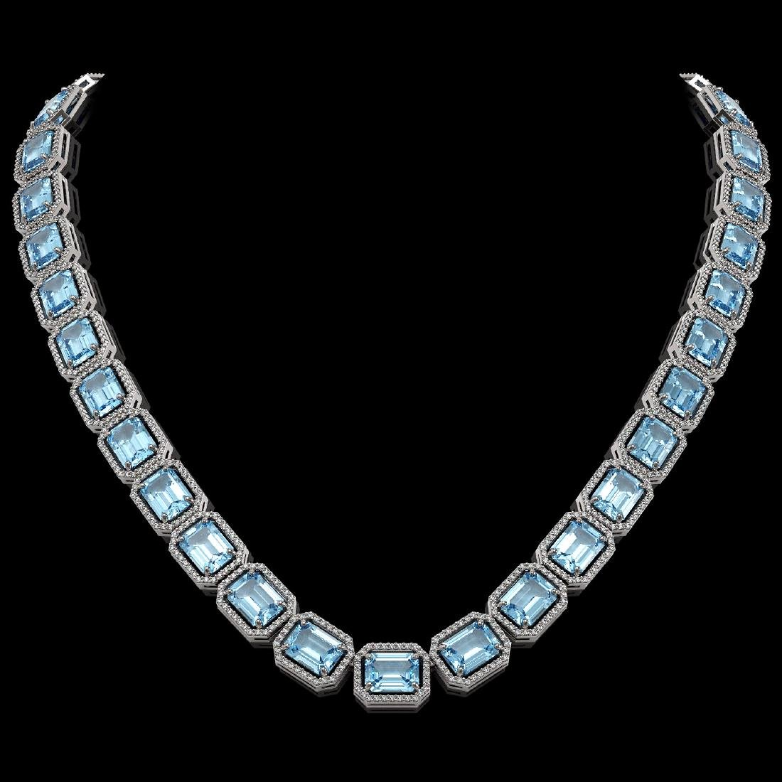 80.98 CTW Aquamarine & Diamond Halo Necklace 10K White