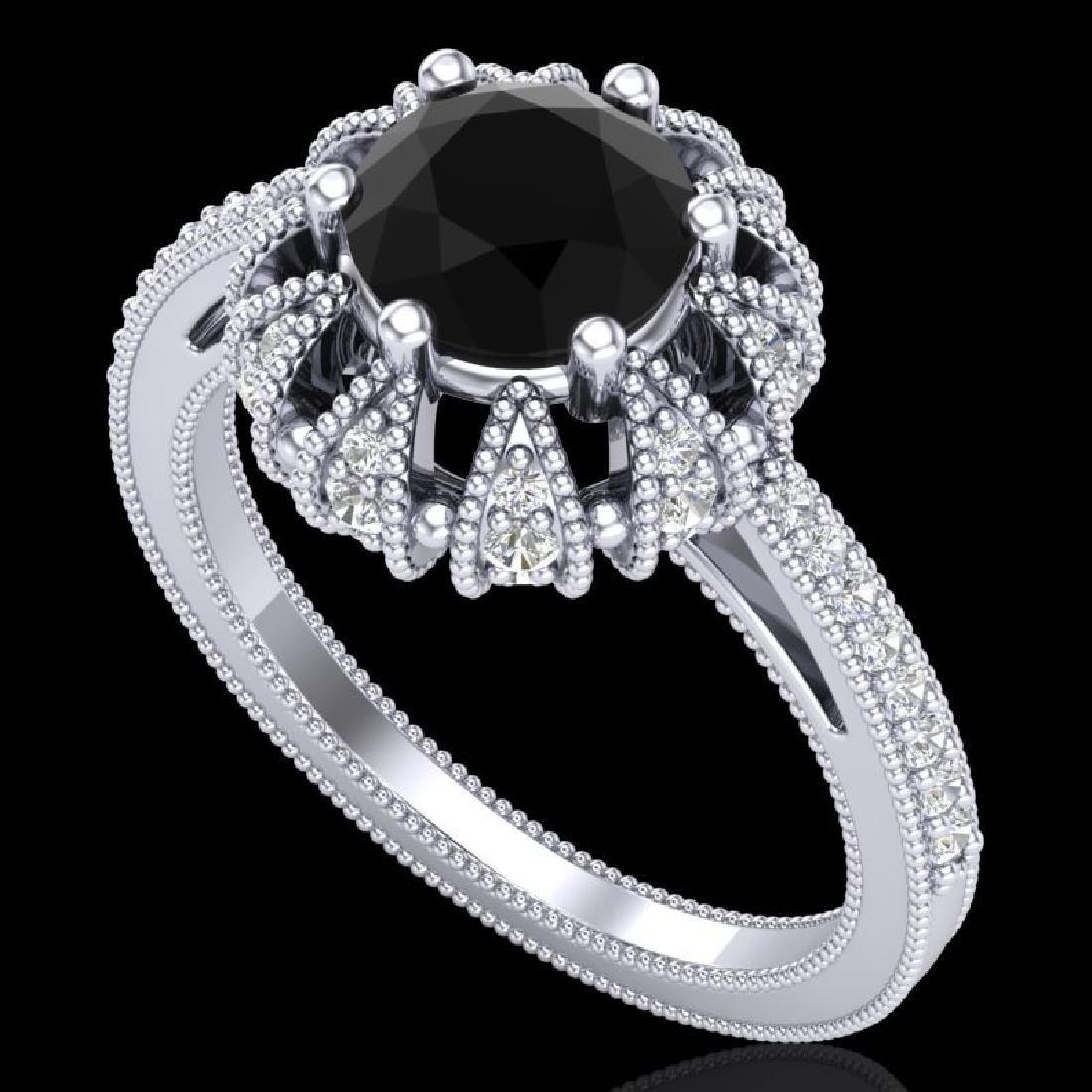 1.65 CTW Fancy Black Diamond Engagement Art Deco Micro