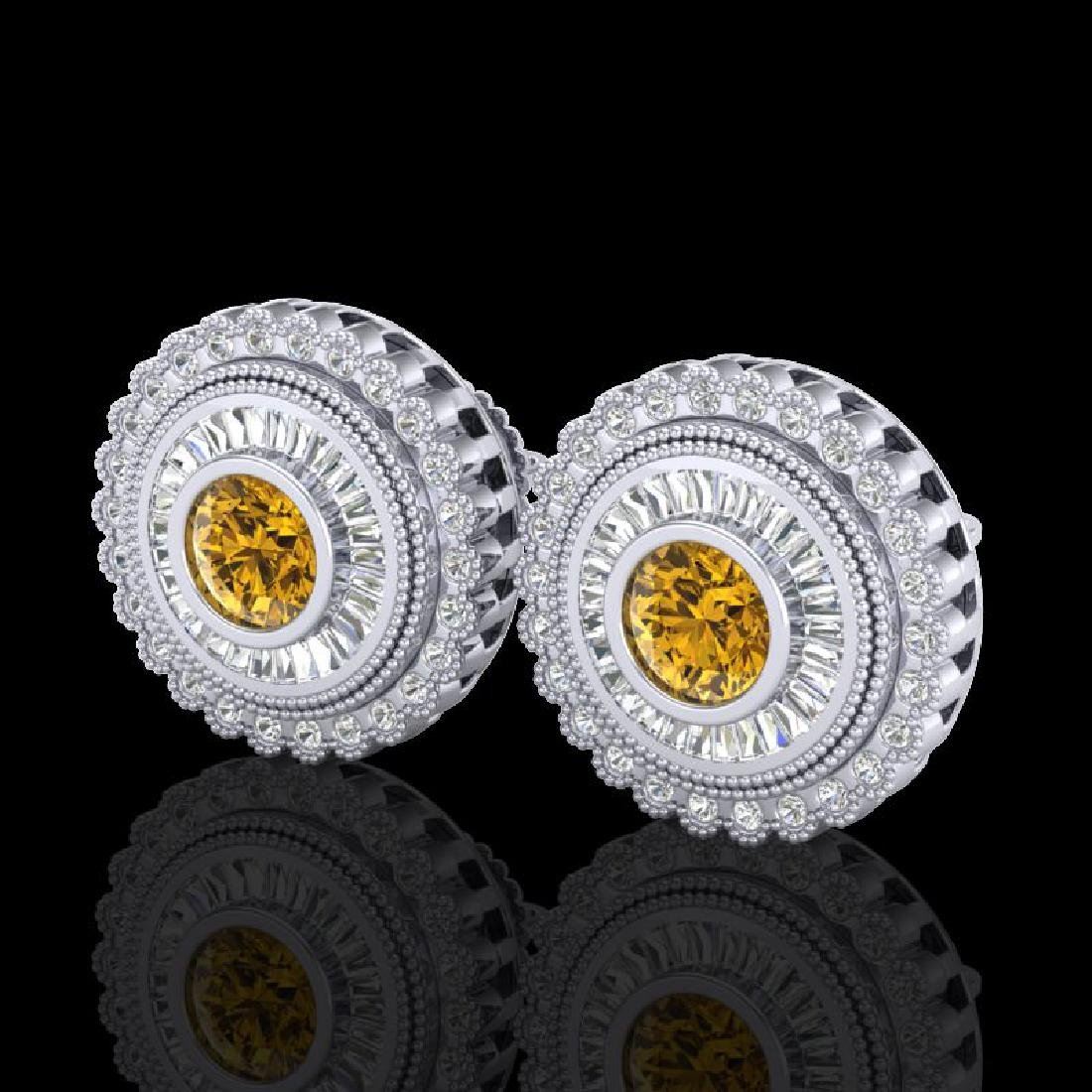 2.61 CTW Intense Fancy Yellow Diamond Art Deco Stud
