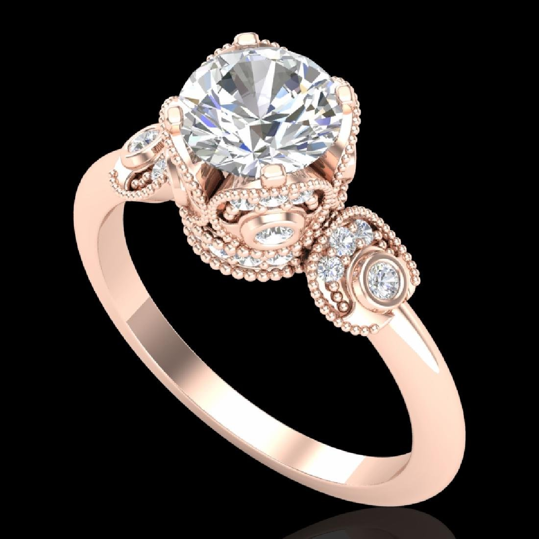 1.75 CTW VS/SI Diamond Solitaire Art Deco Ring 18K Rose