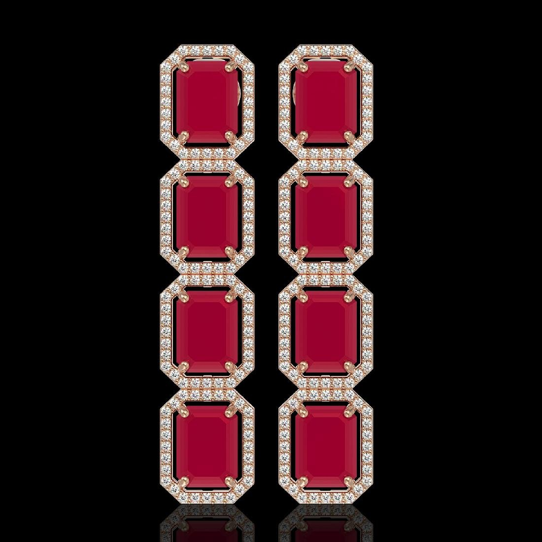 20.59 CTW Ruby & Diamond Halo Earrings 10K Rose Gold