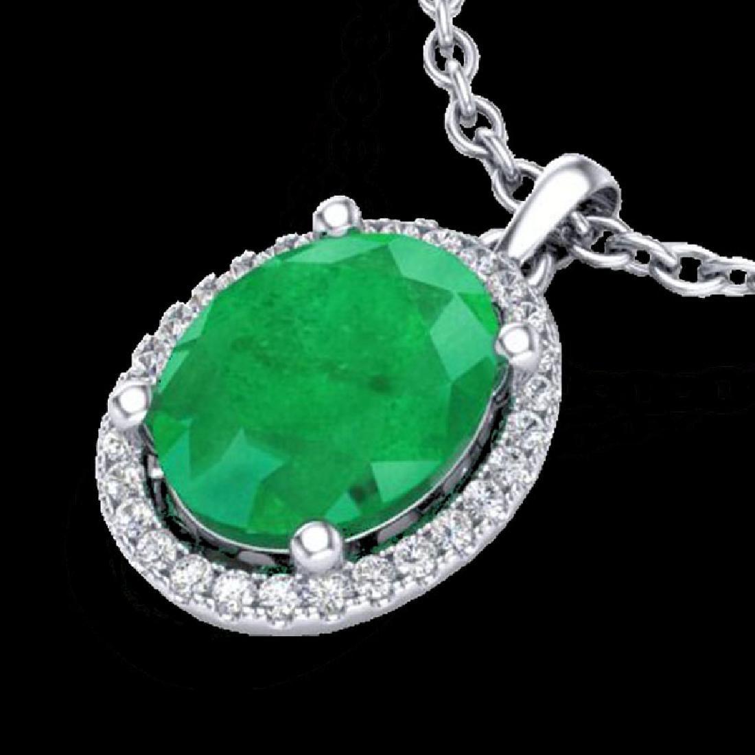 3 CTW Emerald & Micro Pave VS/SI Diamond Necklace Halo