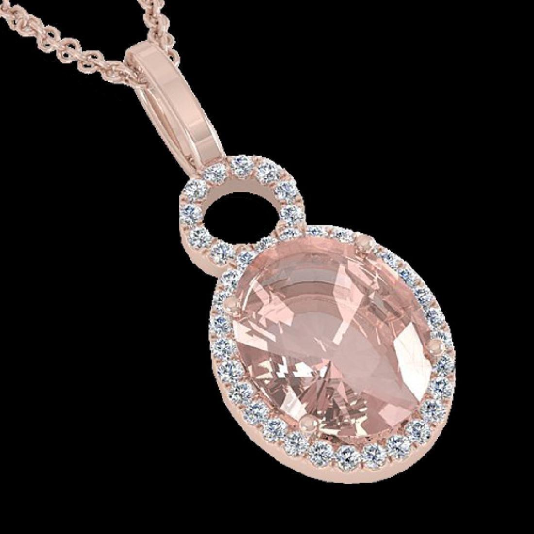 3.50 CTW Morganite & Micro Halo VS/SI Diamond Necklace